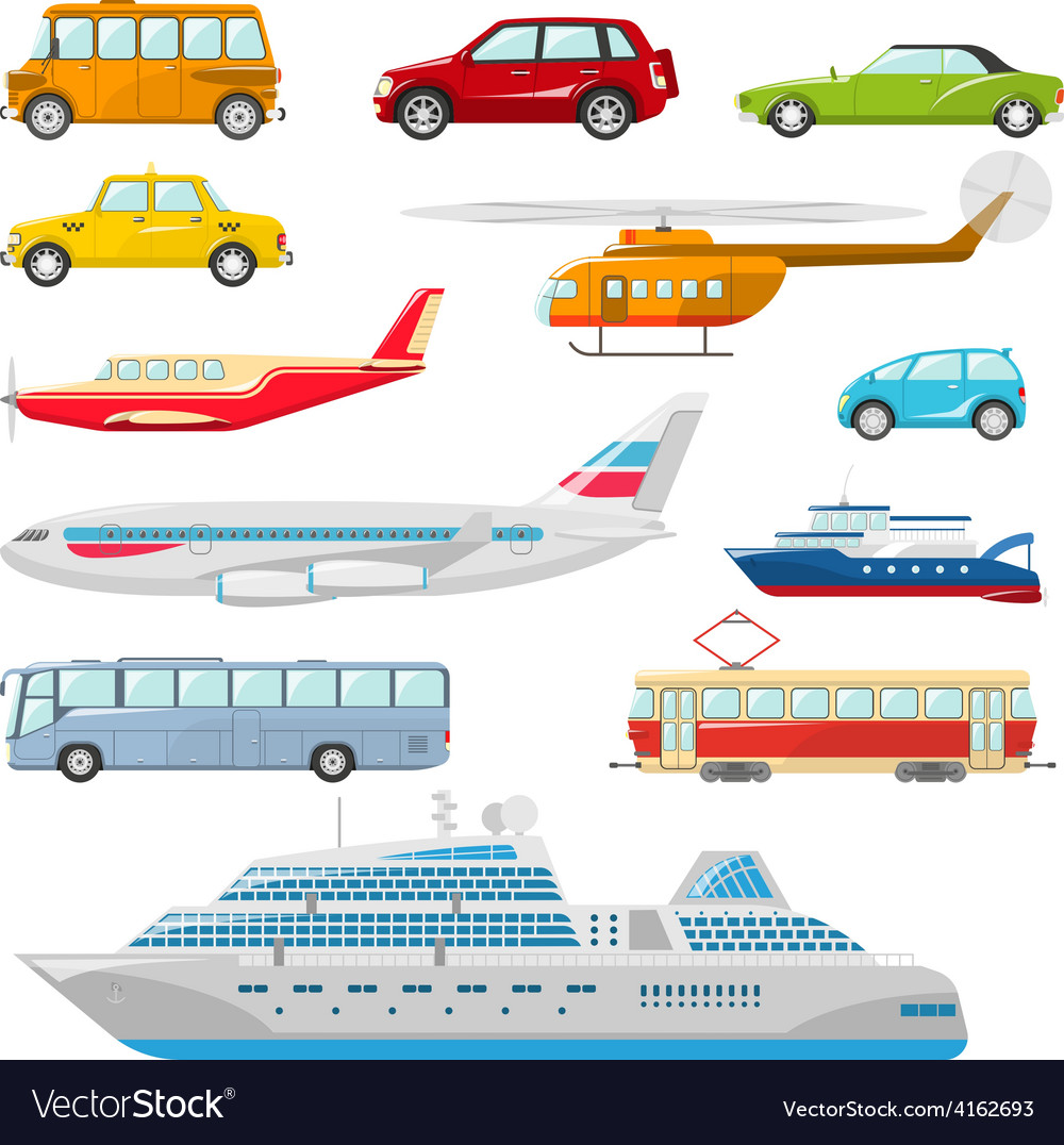 Transport icons flat vector | Price: 1 Credit (USD $1)