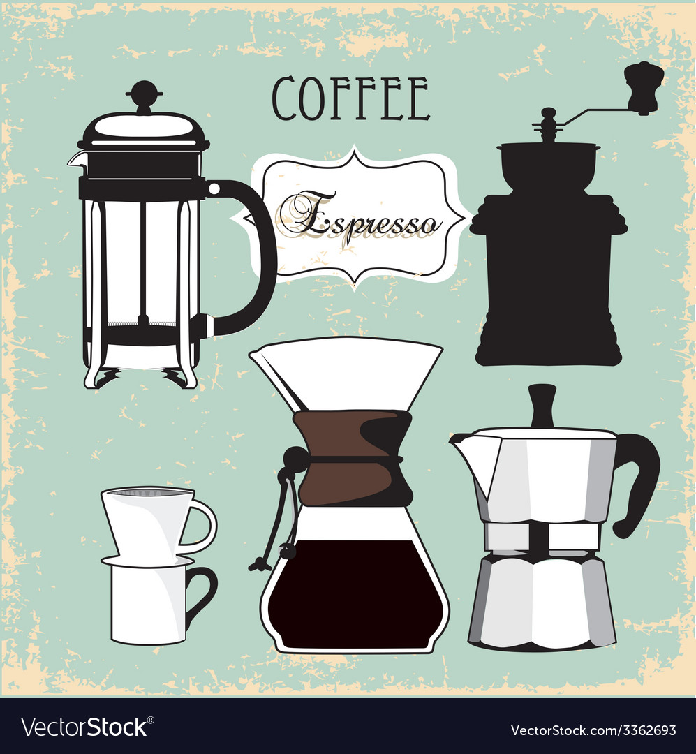 Vintage coffee espresso grinder drip set vector | Price: 1 Credit (USD $1)