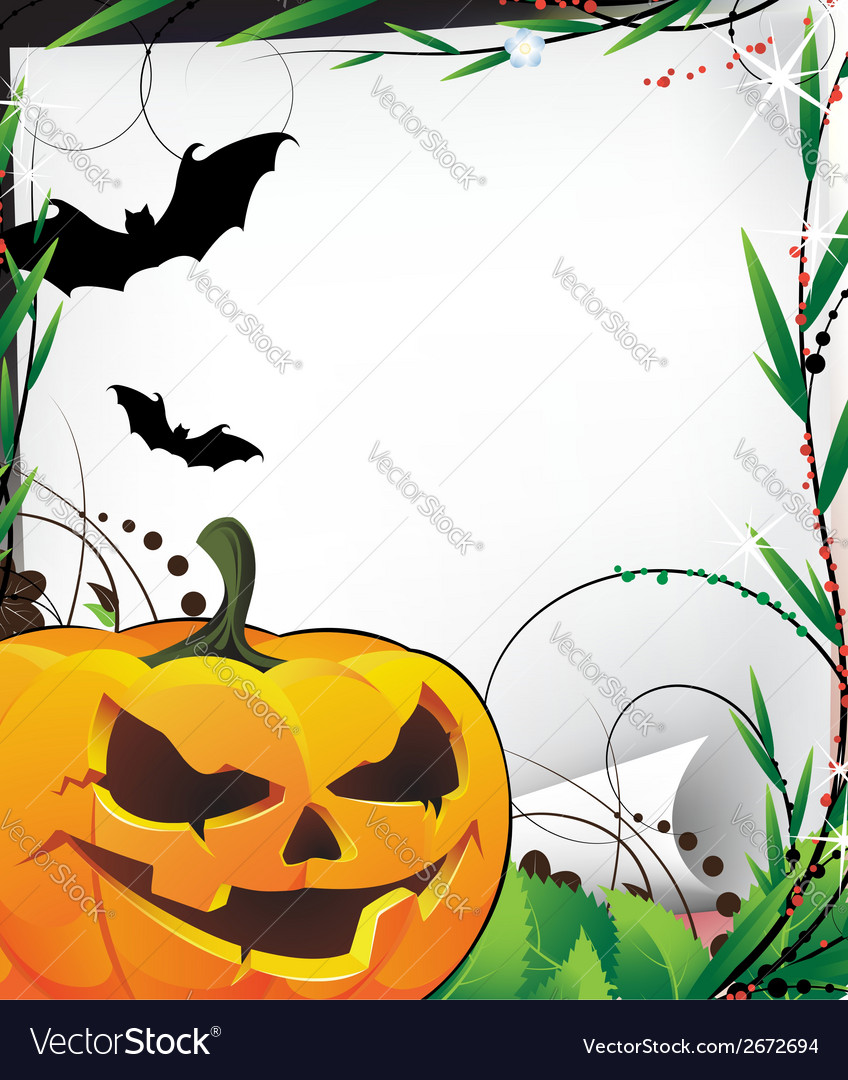 Bats and evil jack o lantern vector | Price: 1 Credit (USD $1)