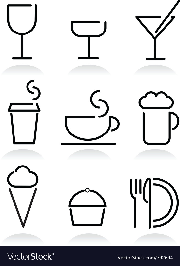 Beverage and food set icons on white vector | Price: 1 Credit (USD $1)