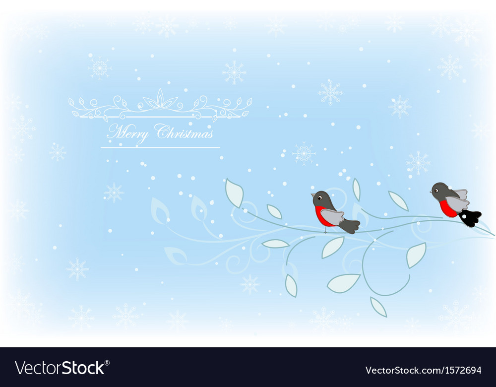Card with bullfinches vector | Price: 1 Credit (USD $1)