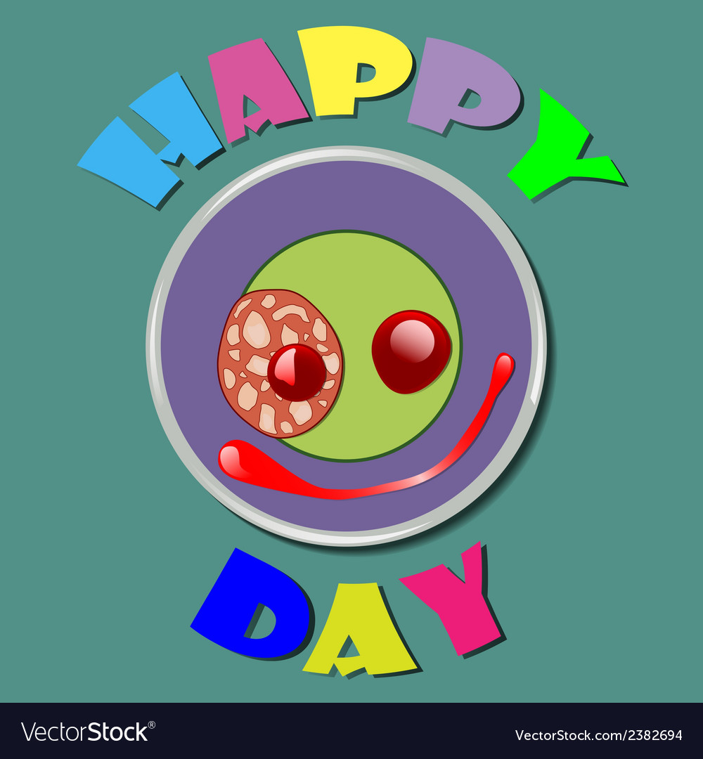 Comic purple plate happy day vector | Price: 1 Credit (USD $1)