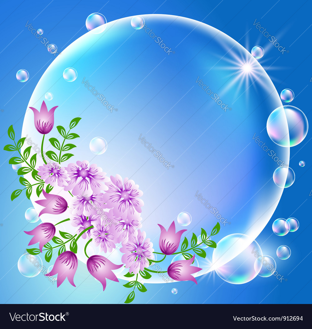 Floral bubble frame vector | Price: 1 Credit (USD $1)