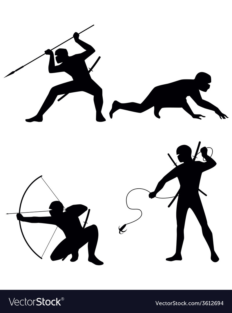 Four ninja silhouettes vector | Price: 1 Credit (USD $1)