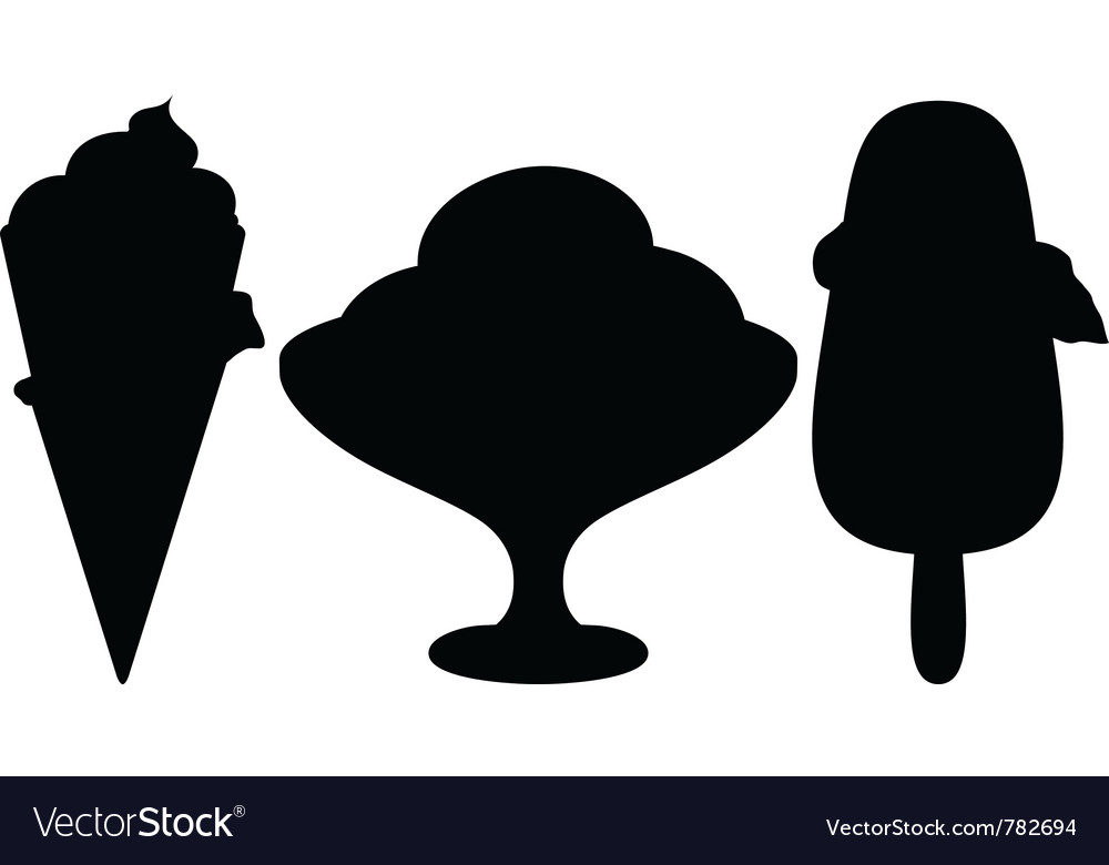 Ice-cream silhouette set vector | Price: 1 Credit (USD $1)