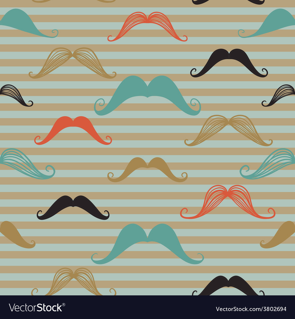 Mustache seamless pattern in vintage style pattern vector | Price: 1 Credit (USD $1)