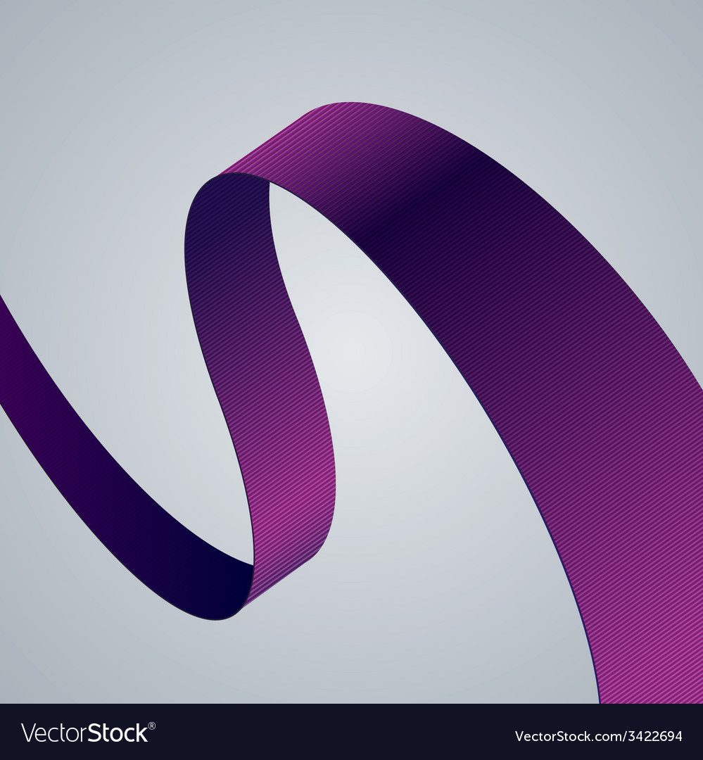 Purple fabric curved ribbon on grey background vector | Price: 1 Credit (USD $1)