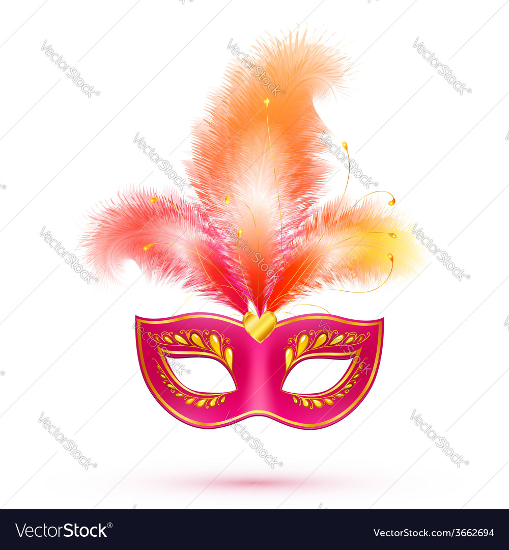 Red isolated carnival mask with feathers vector | Price: 1 Credit (USD $1)
