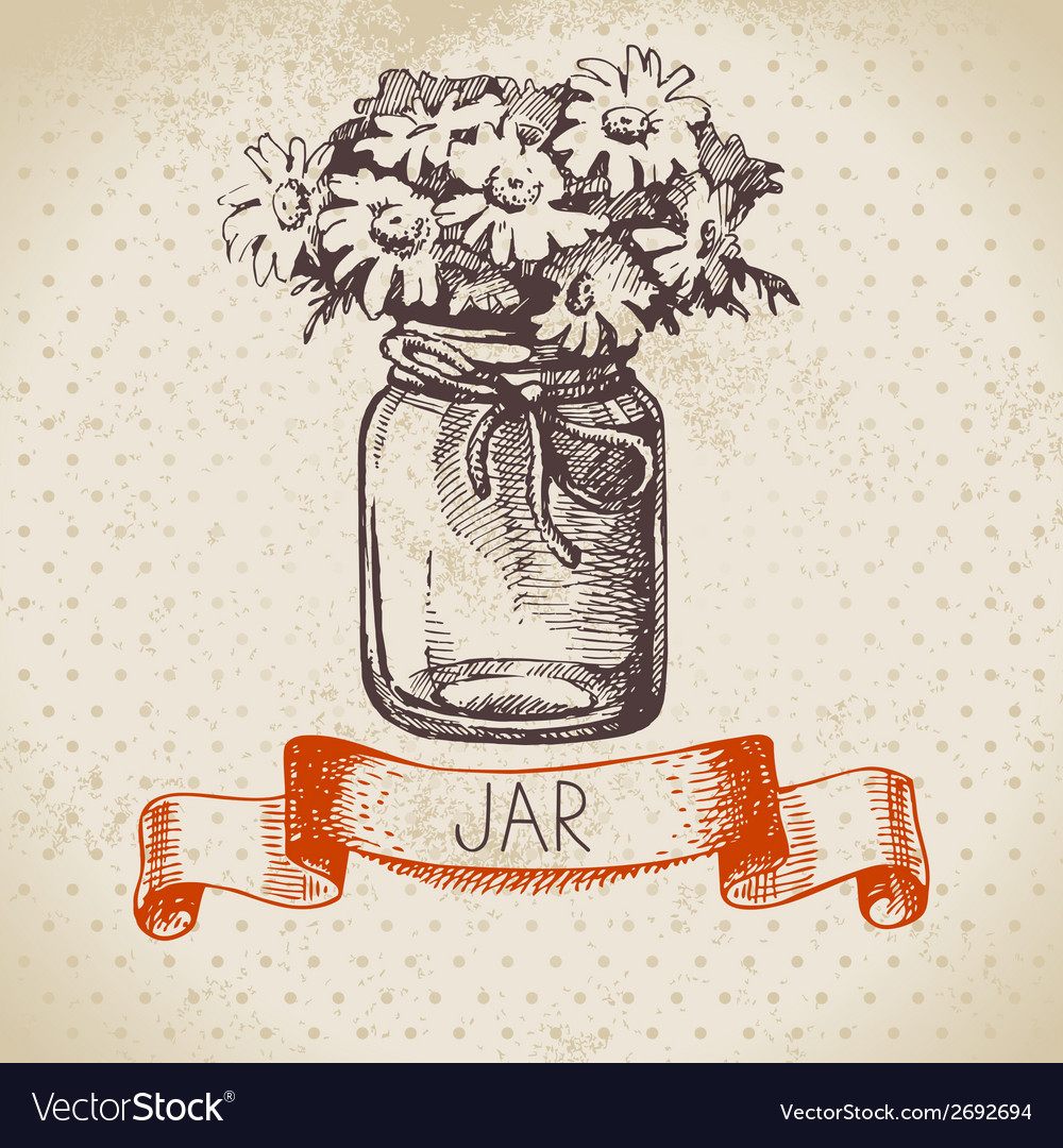 Rustic jar with chamomile bouquet vector | Price: 1 Credit (USD $1)
