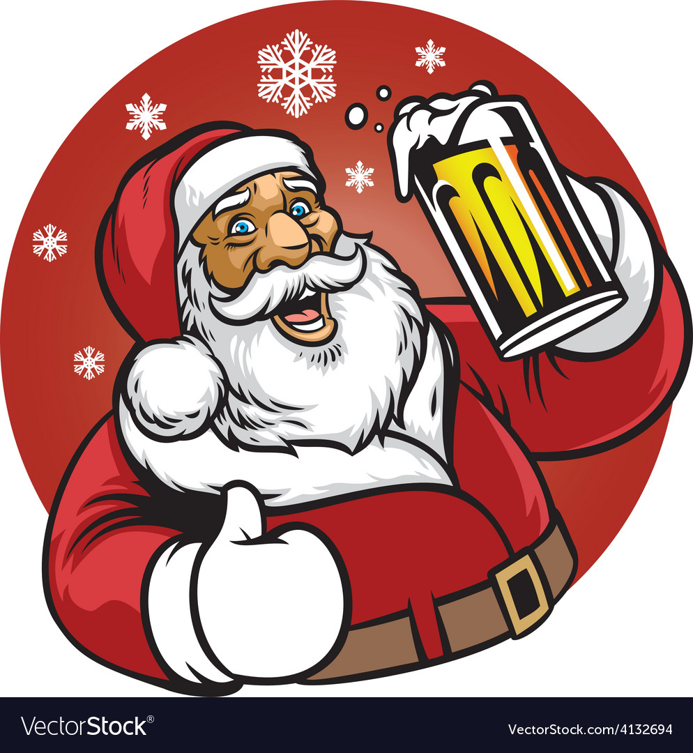Santa claus enjoy a glass of beer vector | Price: 3 Credit (USD $3)