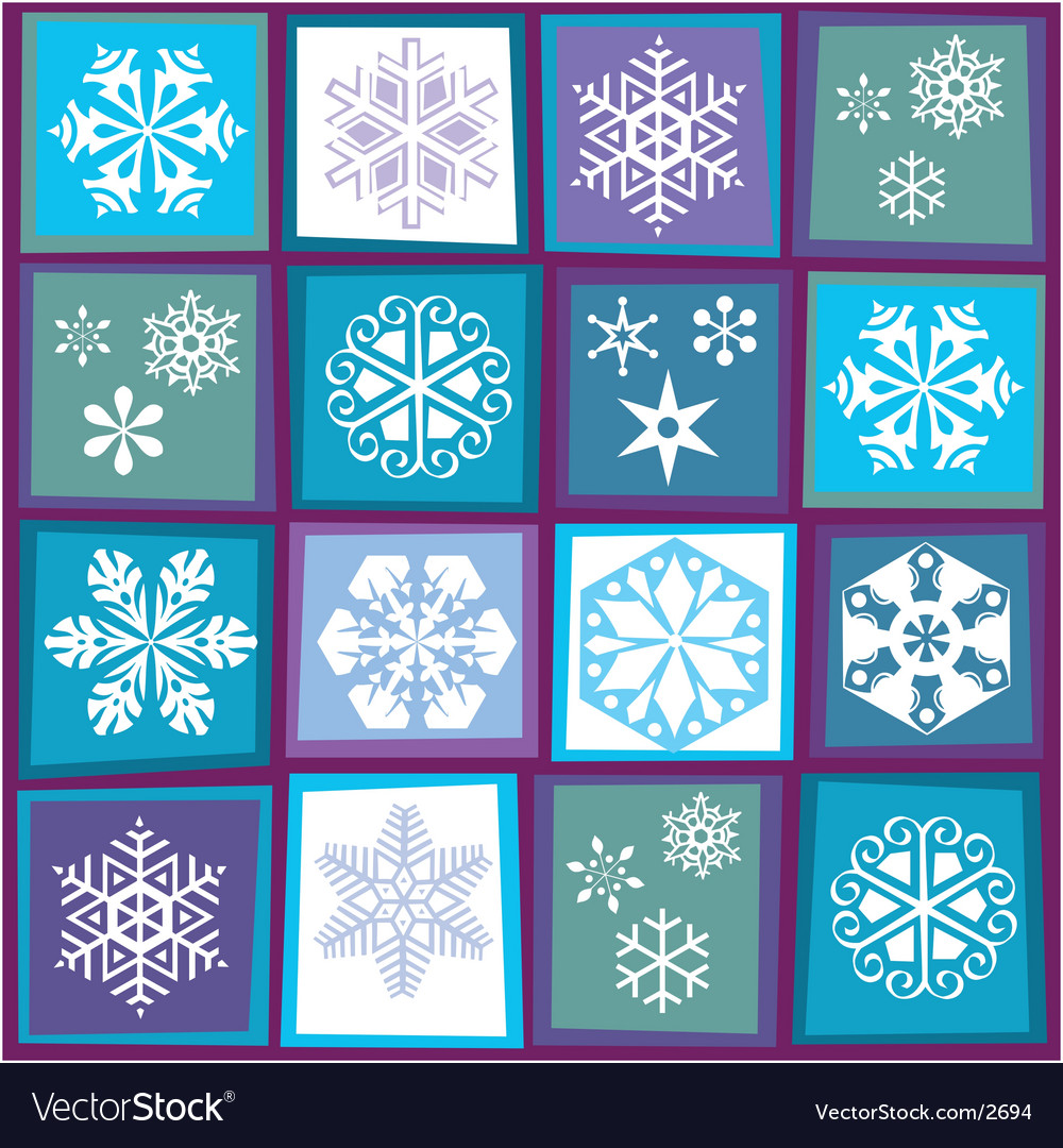 Sixteen snowflakes vector | Price: 1 Credit (USD $1)