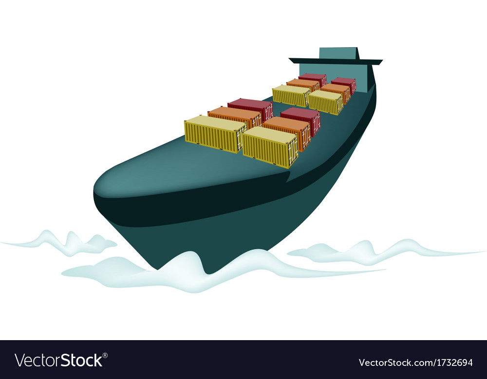 Stack of cargo container on cargo ship vector | Price: 1 Credit (USD $1)