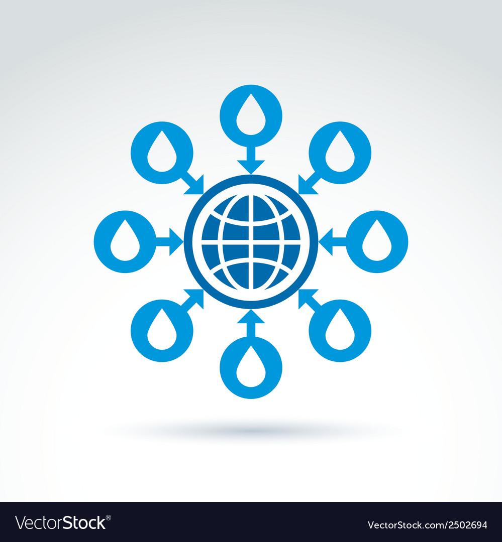 Water system conceptual symbol blue earth arrows vector | Price: 1 Credit (USD $1)