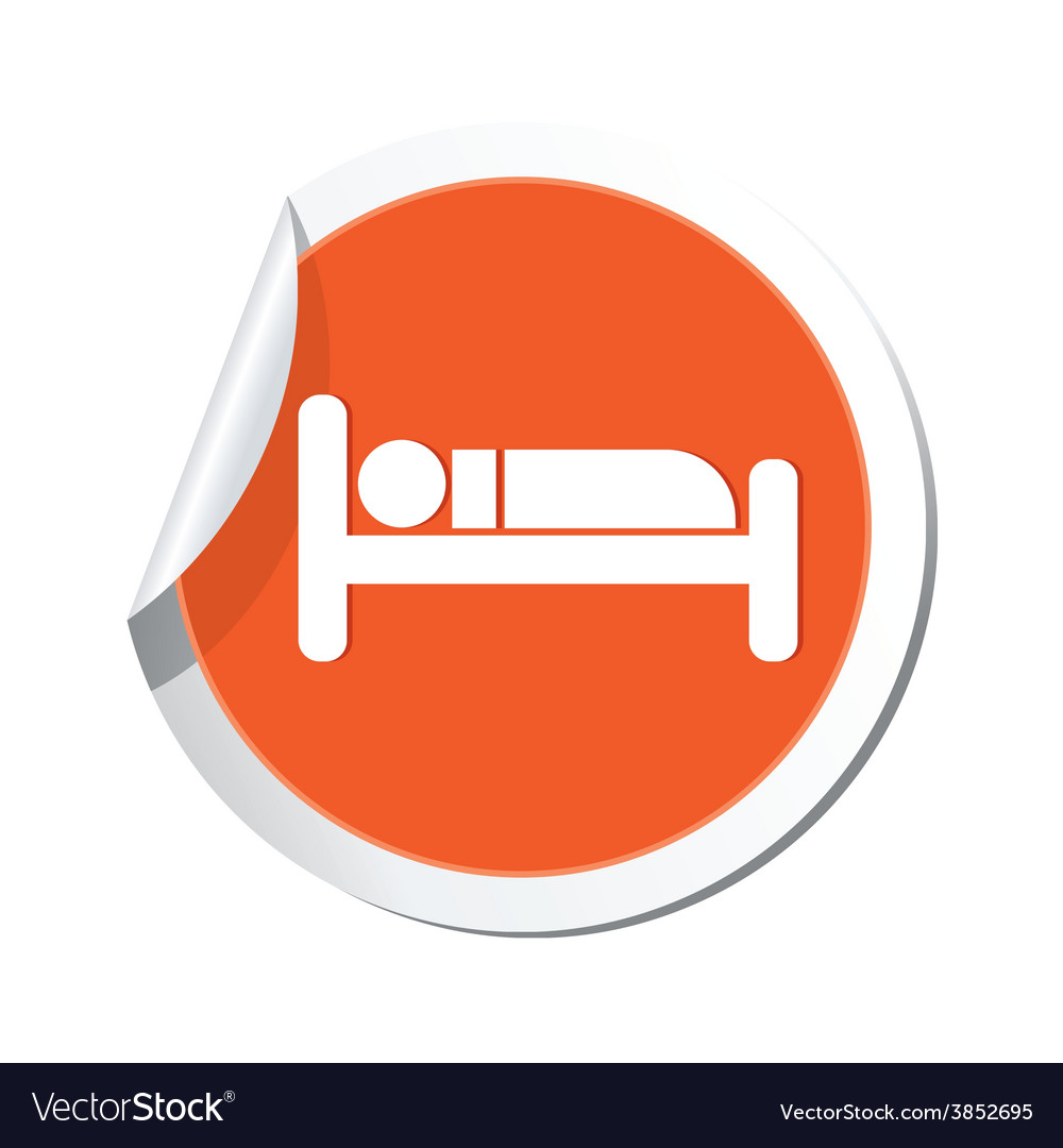 Bed orange label vector | Price: 1 Credit (USD $1)