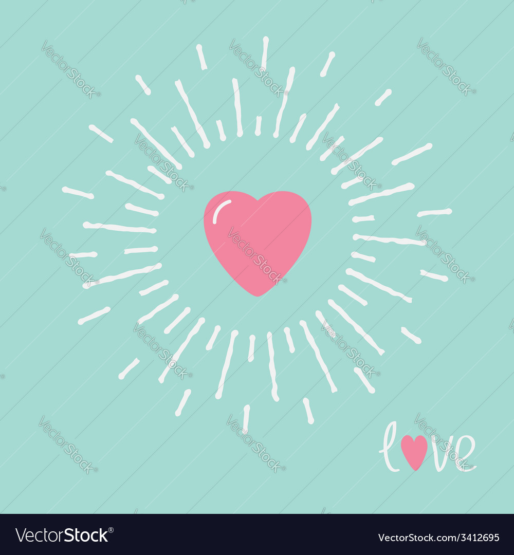 Big pink shining heart and word love flat design vector | Price: 1 Credit (USD $1)