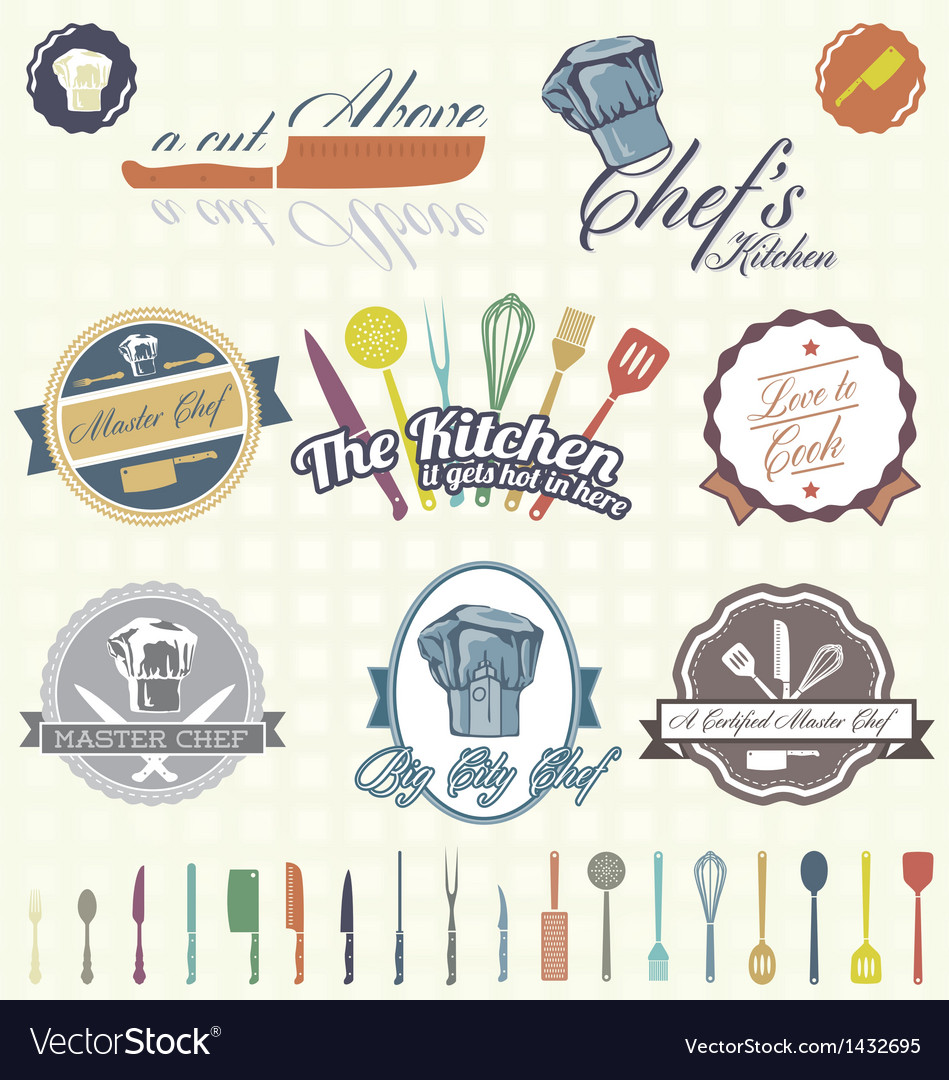 Chef labels color vector | Price: 3 Credit (USD $3)