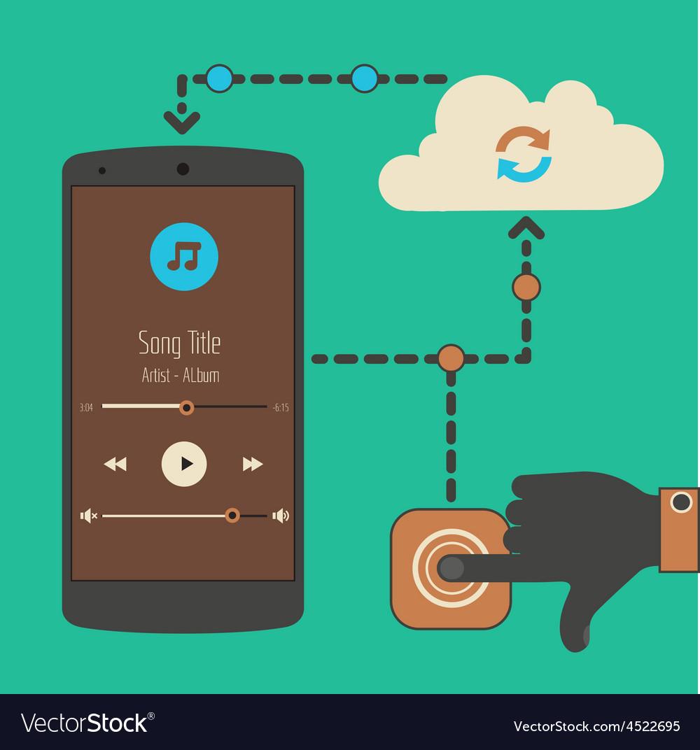 Cloud audio service synchronization concept vector | Price: 1 Credit (USD $1)
