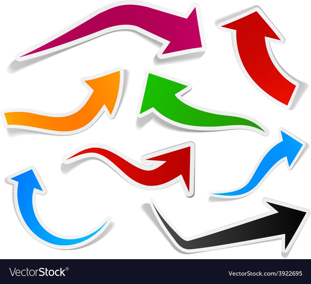 Color arrows sticker set vector | Price: 1 Credit (USD $1)