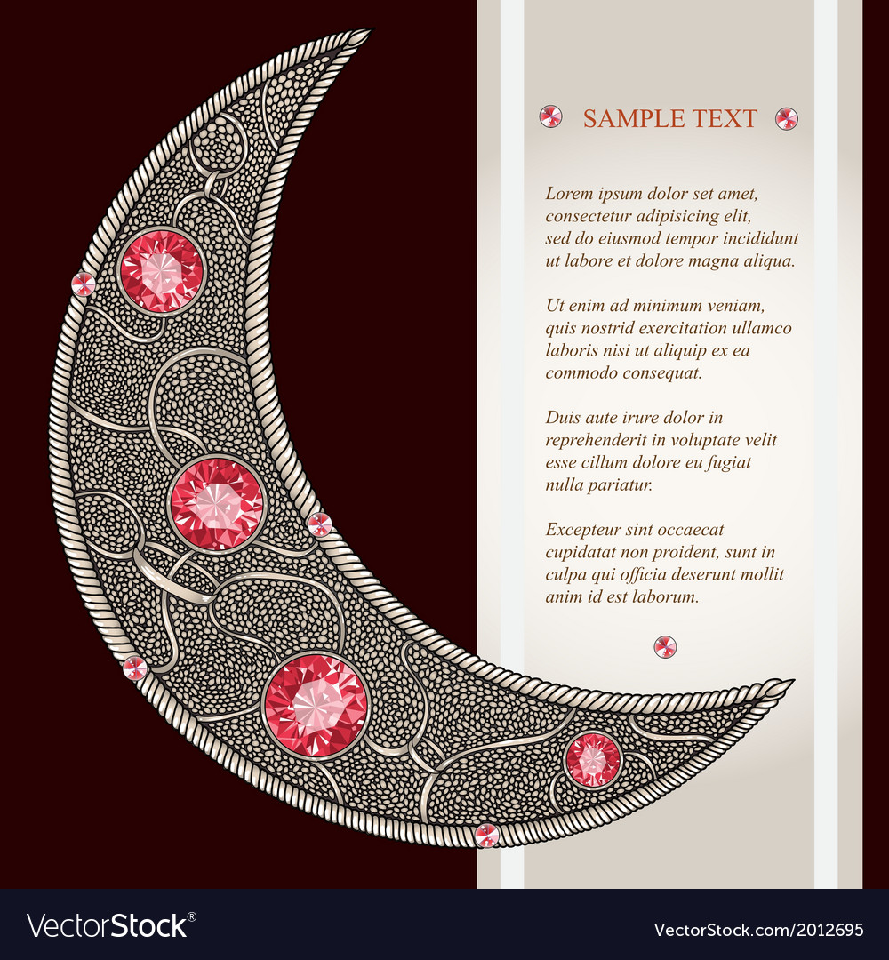 Graphic decorative moon with red rubies with place vector | Price: 1 Credit (USD $1)