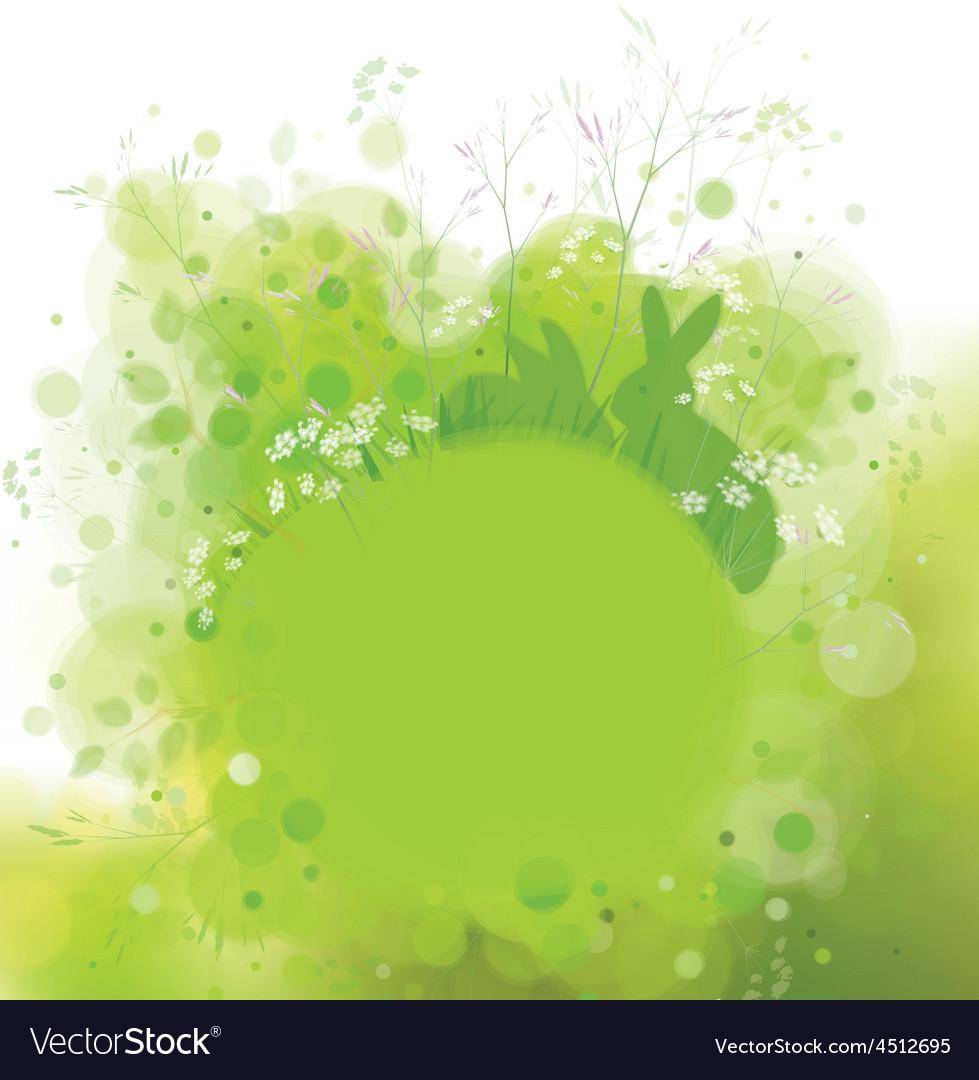 Green background rabbit vector