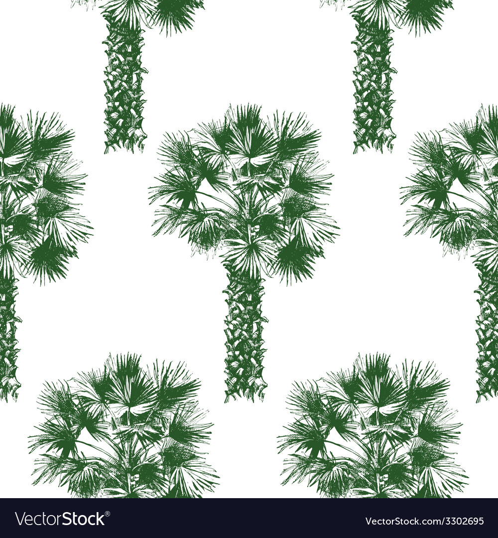 Hand drawn palm tree seamless vector | Price: 1 Credit (USD $1)