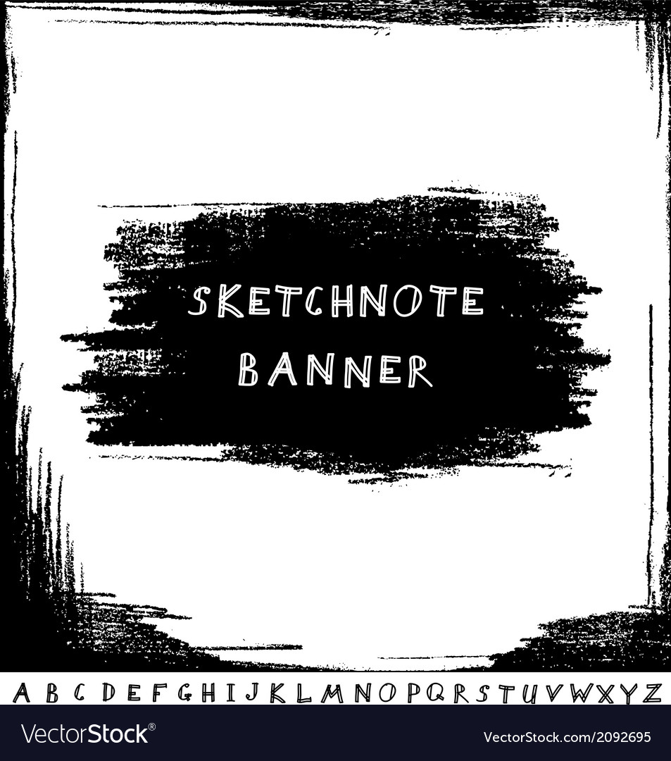 Hand drawn sketchnote banner with alphabet vector | Price: 1 Credit (USD $1)