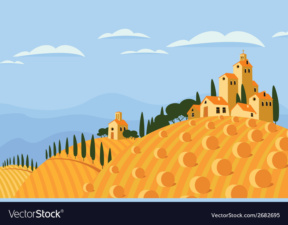 Hay in the italian countryside vector | Price: 1 Credit (USD $1)
