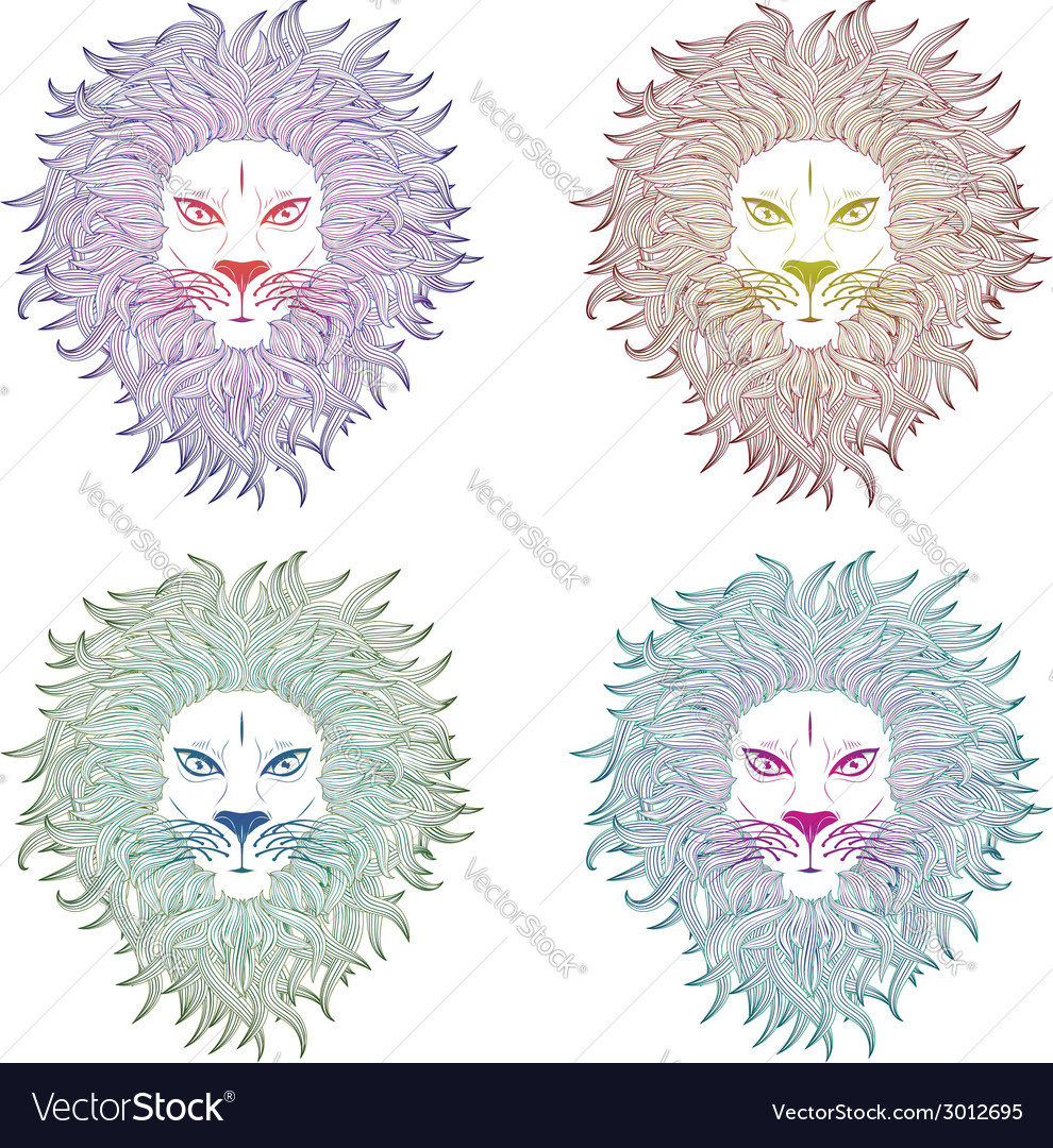 Lion face2 vector | Price: 1 Credit (USD $1)