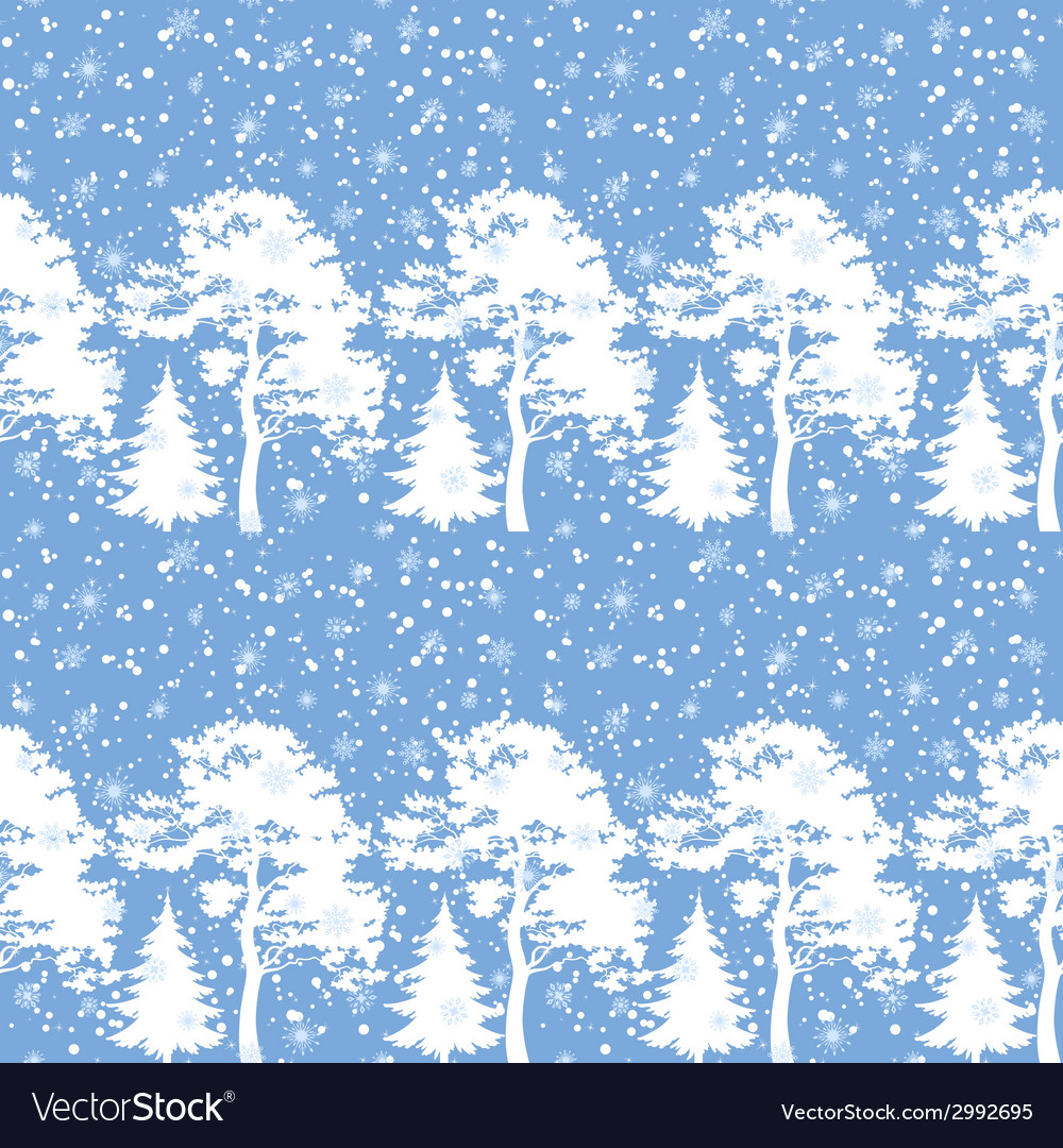 Seamless trees silhouettes and snow vector | Price: 1 Credit (USD $1)
