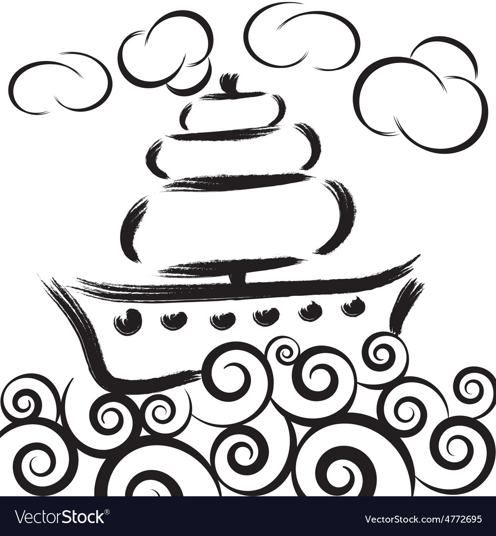 Ship on waves in sea with clouds vector   Price: 1 Credit (USD $1)