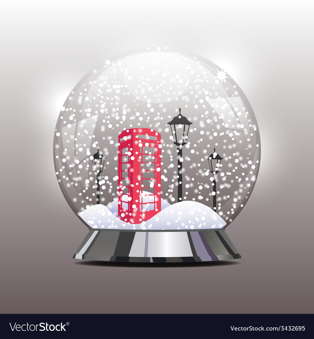 Snow globe with a red telephone booth and lantern vector | Price: 1 Credit (USD $1)