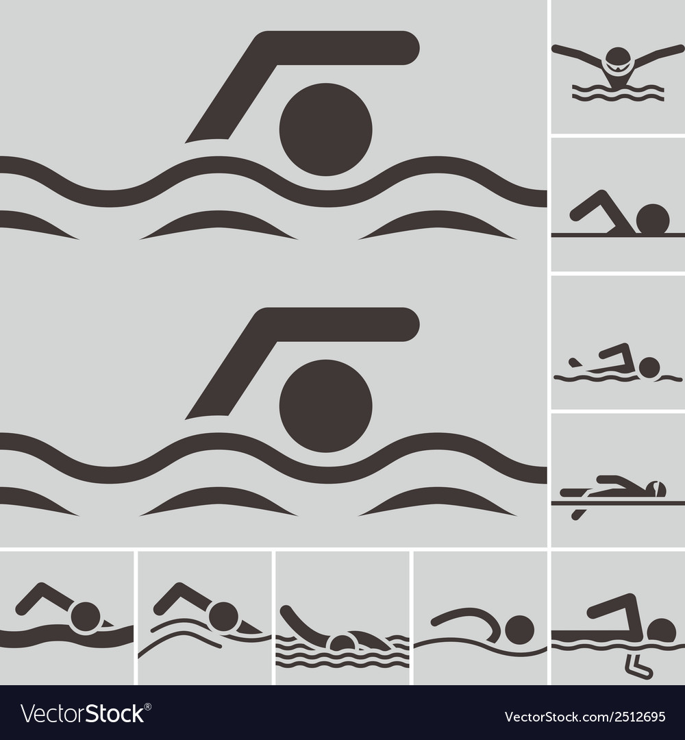 Swimming icons vector | Price: 1 Credit (USD $1)