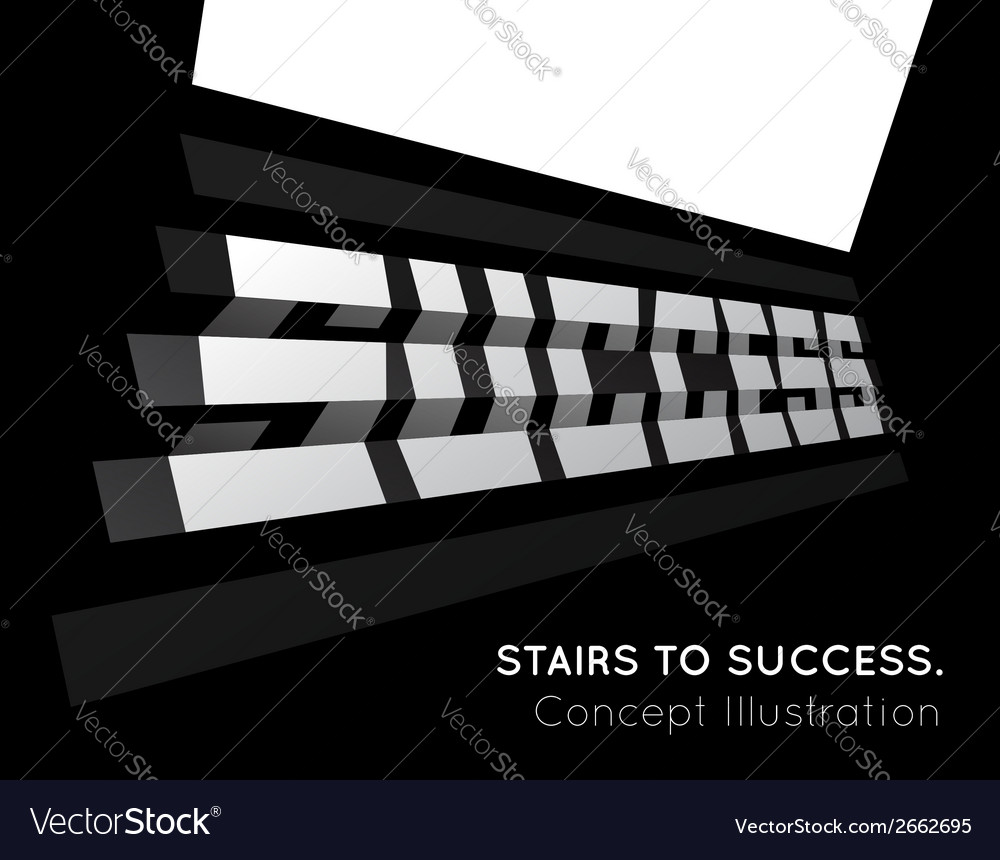 Te word success on the stairs vector | Price: 1 Credit (USD $1)