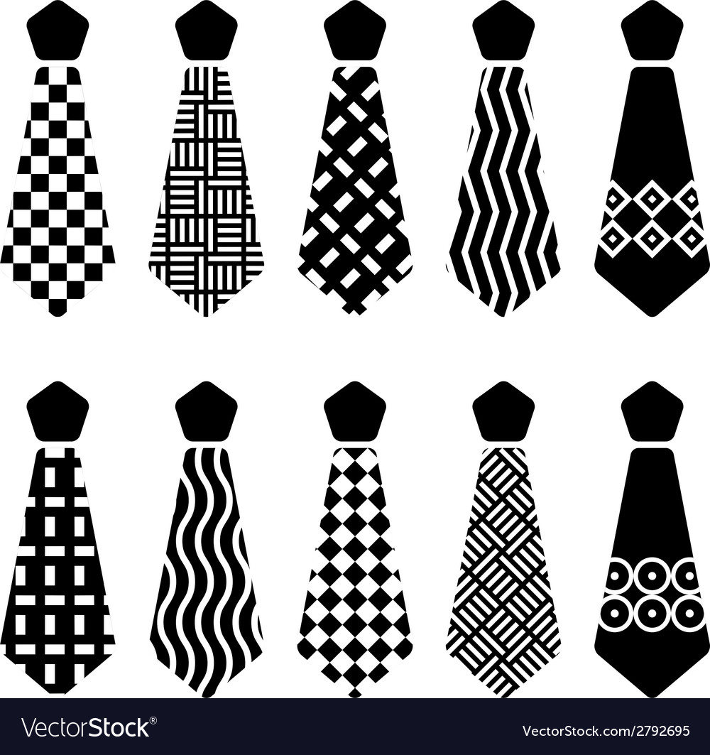 Tie black silhouettes vector | Price: 1 Credit (USD $1)