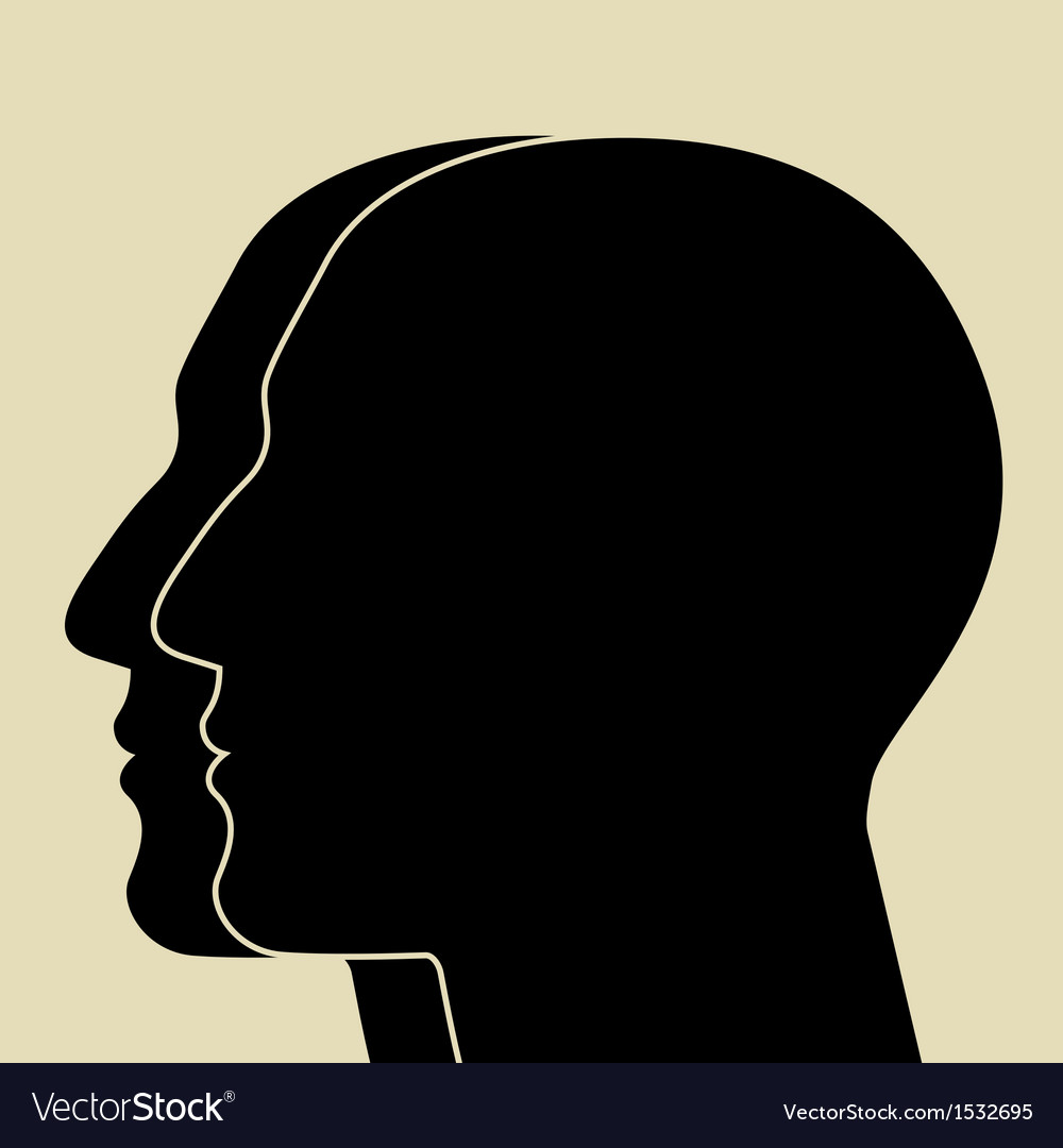 Two heads silhouette vector | Price: 1 Credit (USD $1)