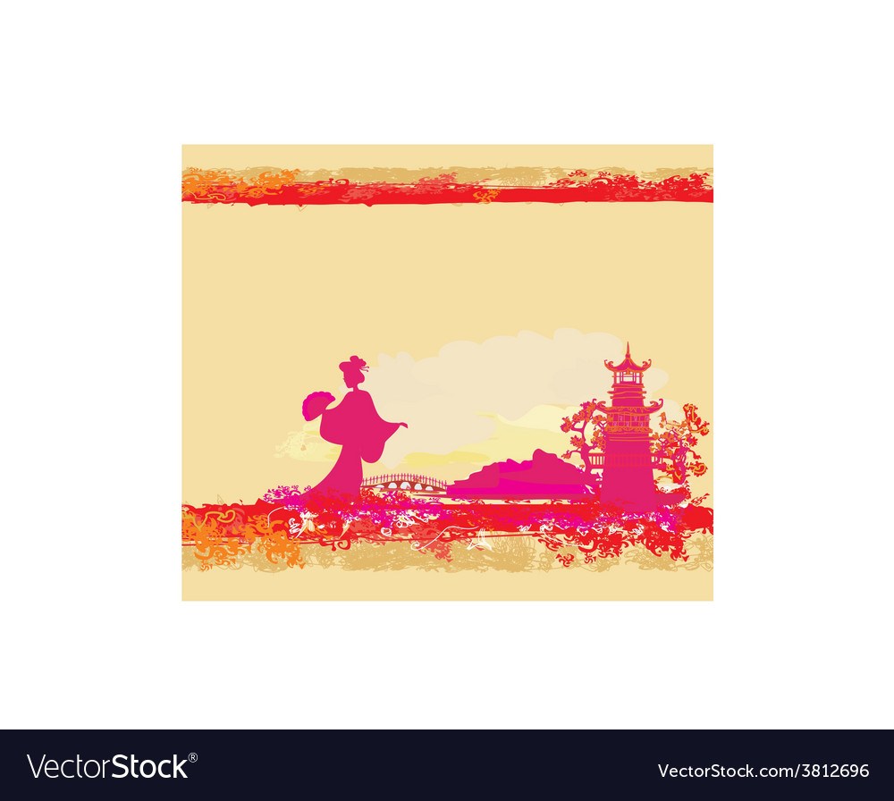 Abstract asian landscape and beautiful asian vector