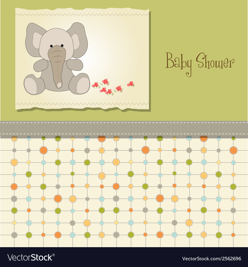 Baby shower card with elephant vector | Price: 1 Credit (USD $1)