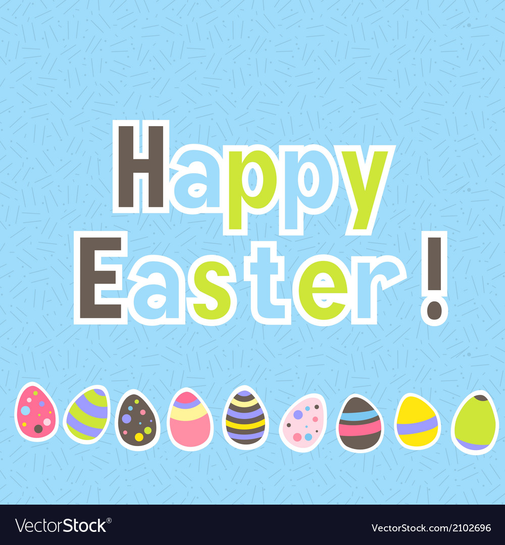 Easter colorful blue greeting card vector | Price: 1 Credit (USD $1)