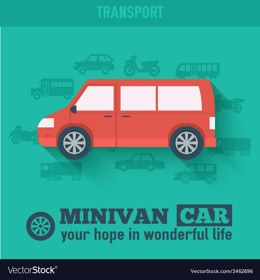Flat minivan car background concept tamplate for w vector | Price: 1 Credit (USD $1)