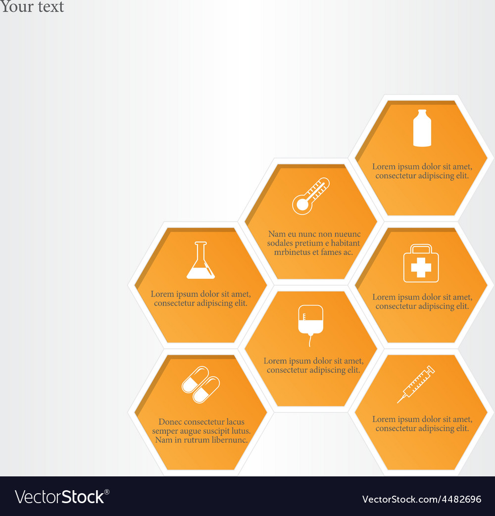 Honeycomb with medical flat icons vector