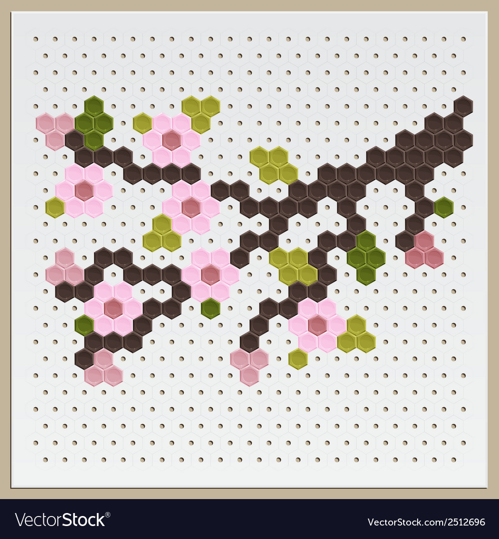 Mosaic sakura vector | Price: 1 Credit (USD $1)