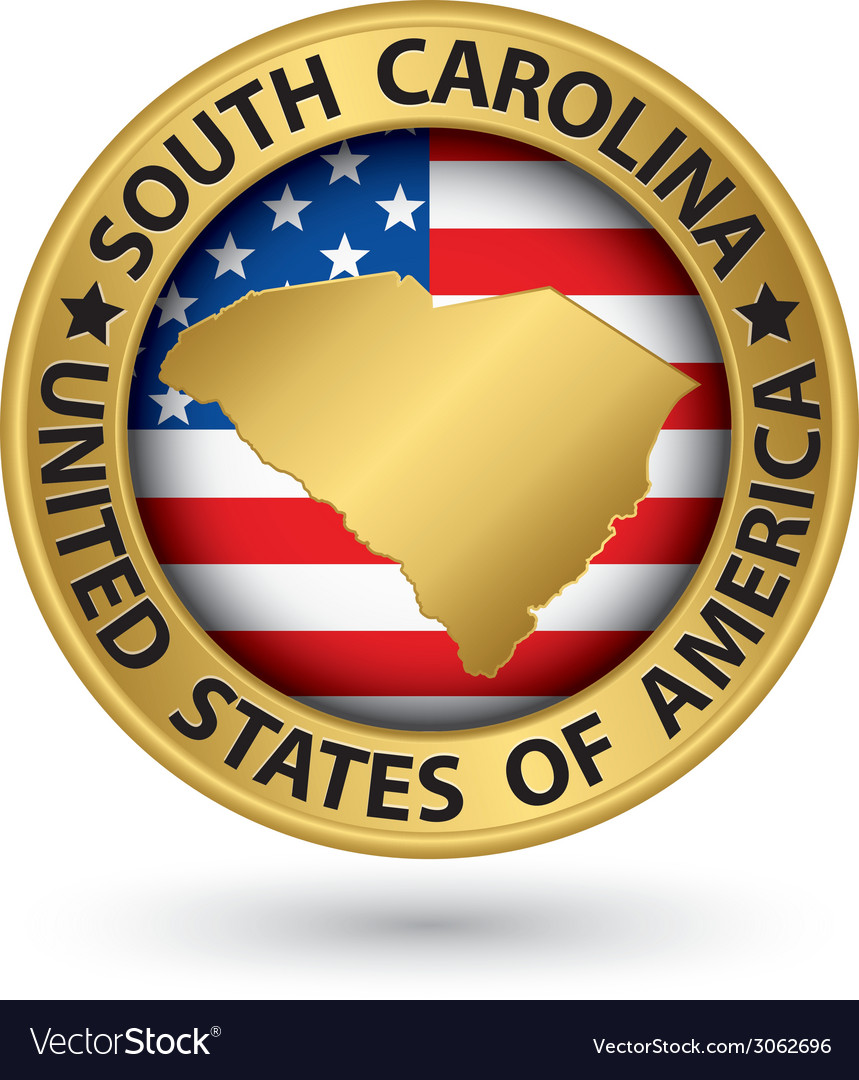 South carolina state gold label with state map vector | Price: 1 Credit (USD $1)
