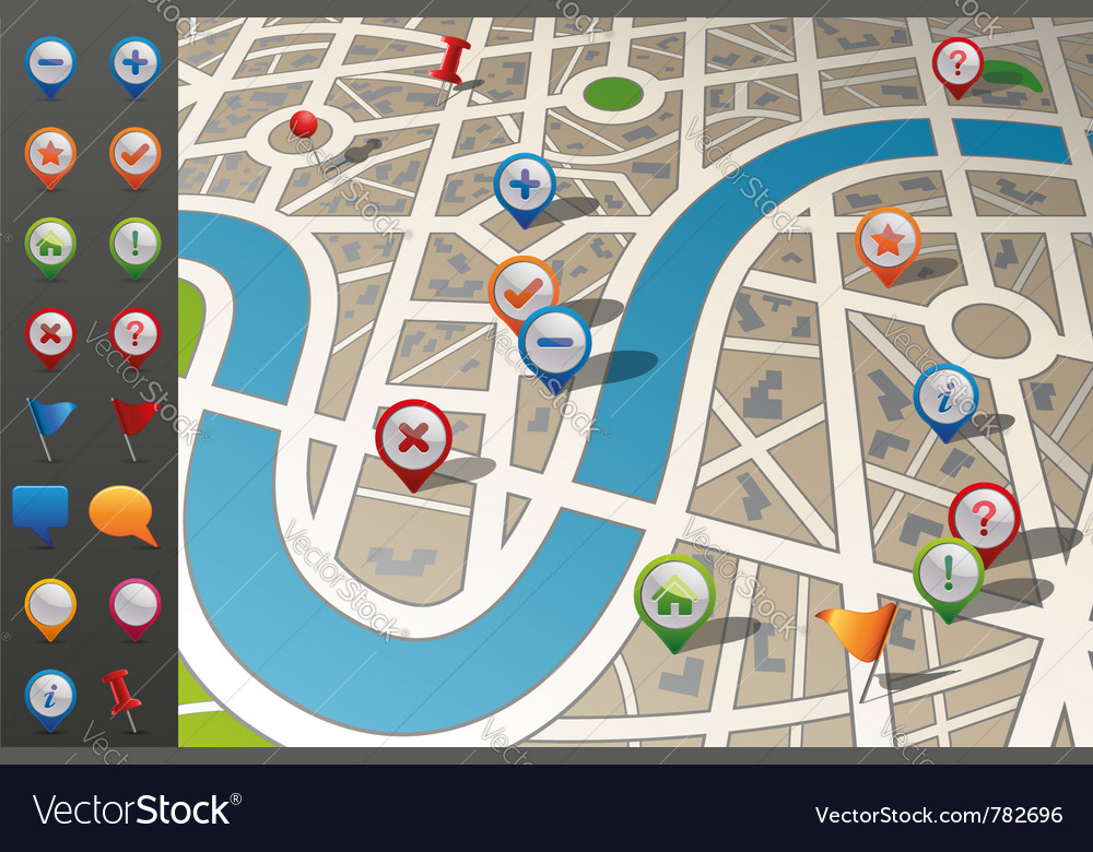Street map with gps icons vector | Price: 3 Credit (USD $3)