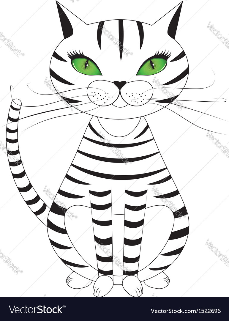 Striped cat vector | Price: 1 Credit (USD $1)