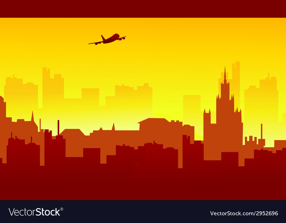 Sunset on city vector | Price: 1 Credit (USD $1)