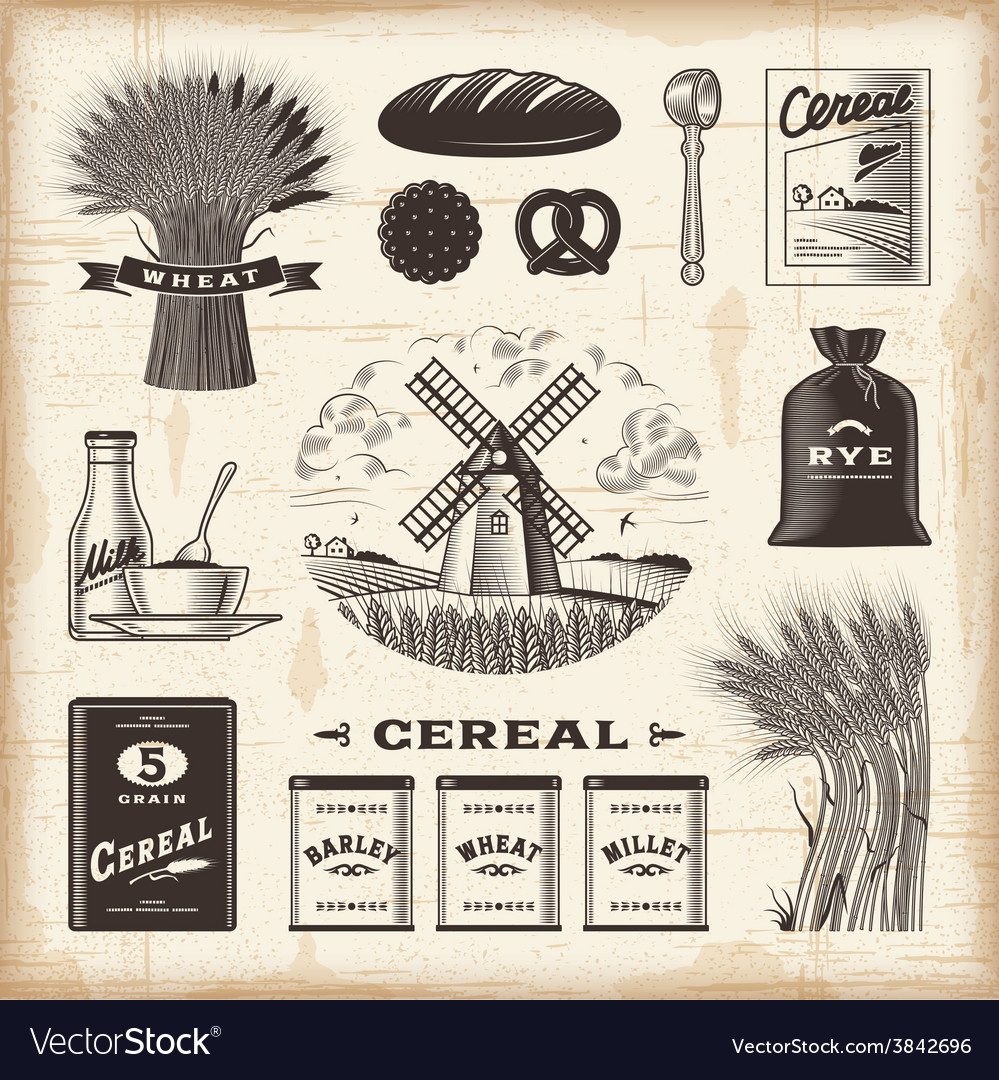 Vintage cereal set vector | Price: 3 Credit (USD $3)
