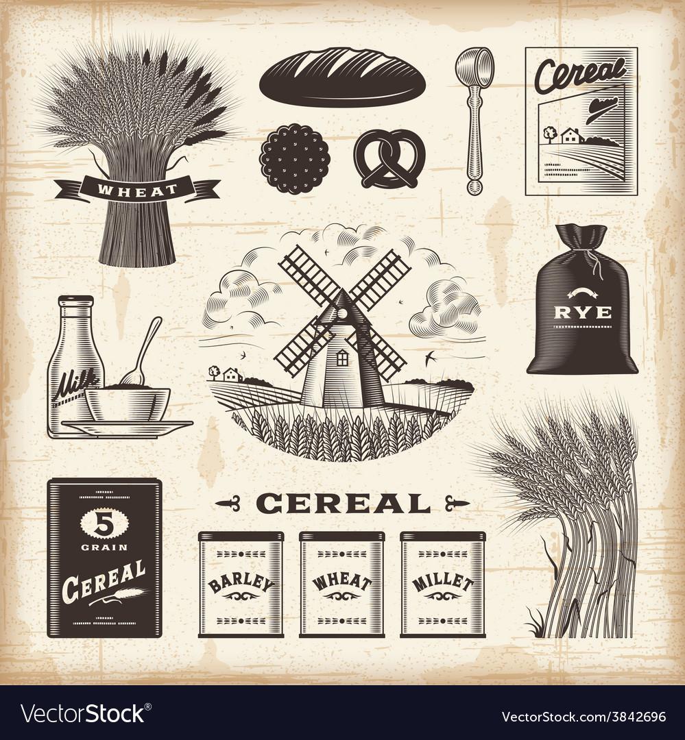Vintage cereal set vector | Price: 3 Credit (USD $3)