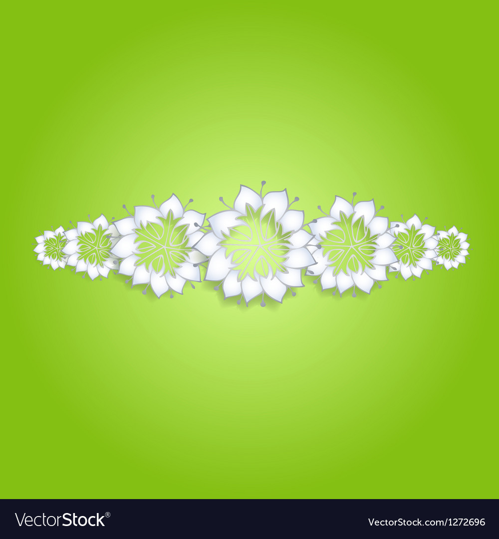 White flowers on green background vector | Price: 1 Credit (USD $1)