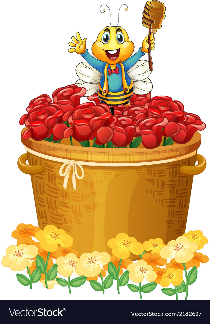 A happy bee above the basket of flowers vector | Price: 1 Credit (USD $1)