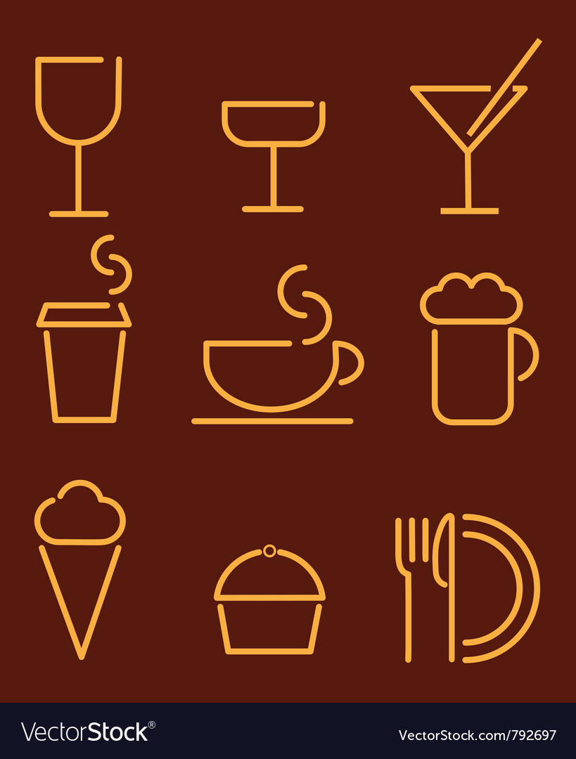 Beverage and food set icons vector | Price: 1 Credit (USD $1)